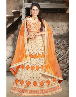 Traditional Orange Net Embroidered Lehenga Choli - 74496