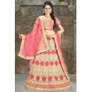 Wedding Wear Pink Net Embroidered Lehenga Choli - 74497