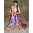 Ethnic Wear Blue & Violet Net Embroidered Lehenga Choli - 74501