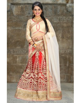 Wedding Wear Red & Beige Net Lehenga Choli - 74502
