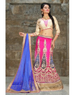 Wedding Wear Pink & Blue Net Lehenga Choli - 74503
