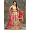 Bridal Wear Beige & Pink Net Lehenga Choli - 74504