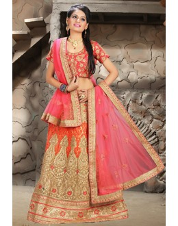 Designer Beige & Pink Net Embroidered Lehenga Choli - 74507