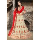 Bridal Wear Beige & Red Net Embroidered Lehenga Choli - 74508