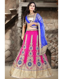 Traditional Pink & Blue Net Embroidered Lehenga Choli - 74509