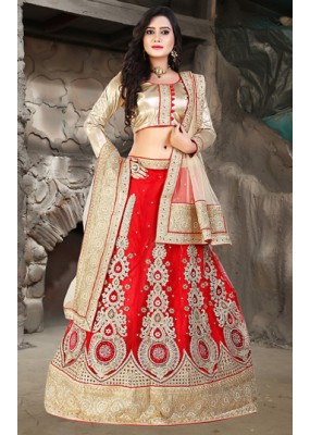 Wedding Wear Red & Beige Net Lehenga Choli - 74510