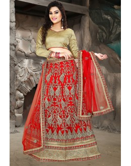 Ethnic Wear Red & Brown Net Embroidered Lehenga Choli - 74512