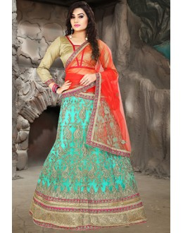 Traditional Turquoise & Red Net Embroidered Lehenga Choli - 74513