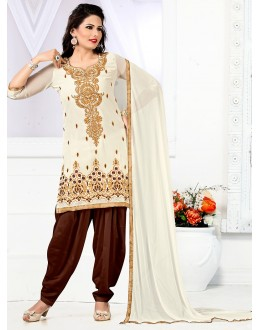 Festival Wear Cream & Brown Georgette Patiyala Suit - 74544