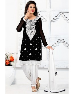 Party Wear Black & White Georgette Patiyala Suit - 74545