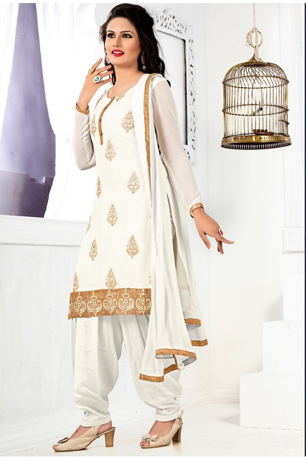Office Wear White Georgette Patiyala Suit - 74546