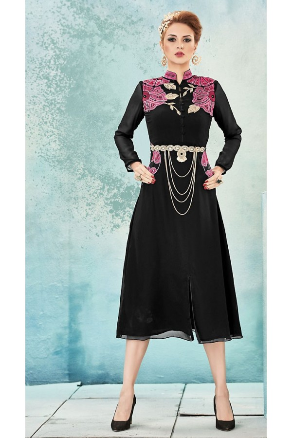 Ethnic Wear Readymade Black Georgette Kurti - 74576
