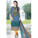 Festival Wear Blue & Yellow Cotton Salwar Suit - 74582