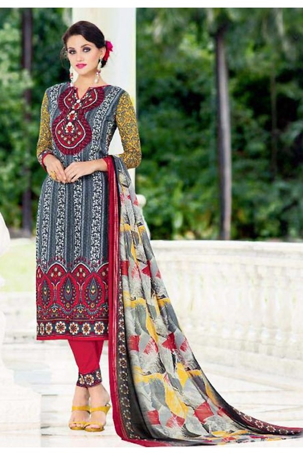 Office Wear Grey & Red Cotton Salwar Suit - 74584