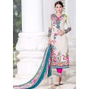 Festival Wear Off White & Pink Cotton Salwar Suit - 74585