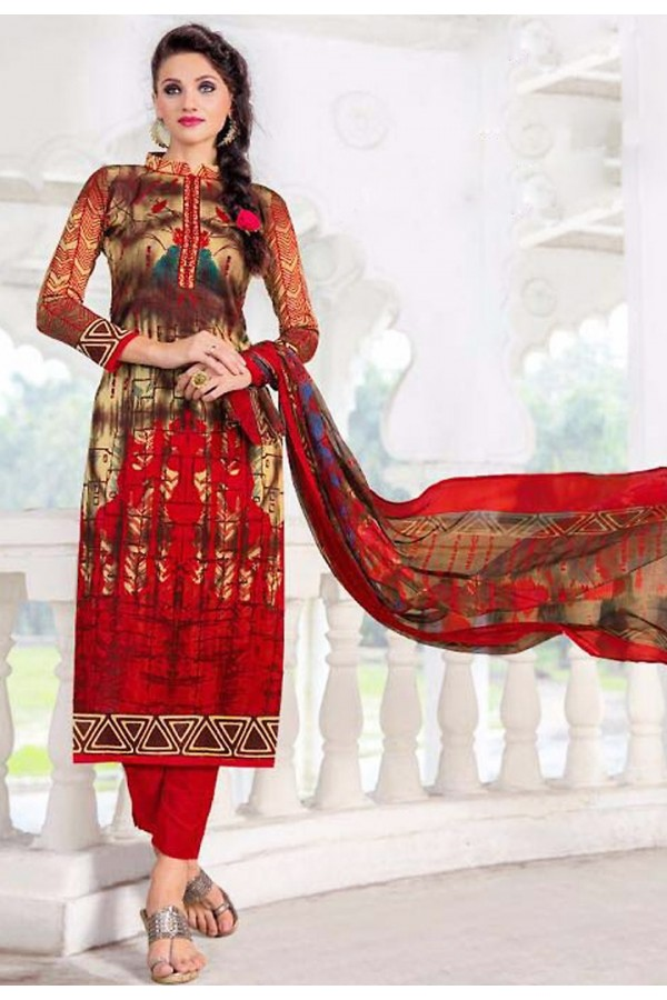Festival Wear Red Cotton Salwar Suit - 74586