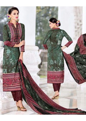 Office Wear Green & Maroon Cotton Salwar Suit - 74590