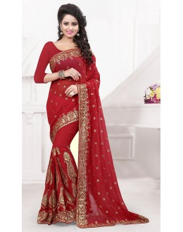 Party Wear Red Georgette Embroidered Saree  - 74534
