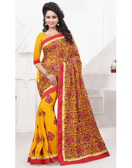 Festival Wear Yellow Georgette Embroidered Saree  - 74536