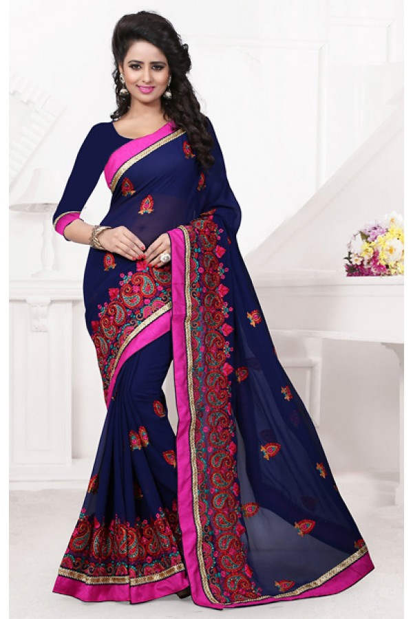 Festival Wear Navy Blue Georgette Saree  - 74538