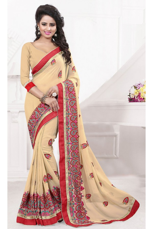 Party Wear Beige Georgette Embroidered Saree  - 74539