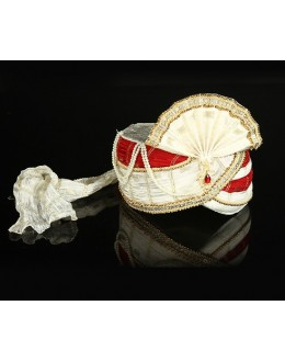 Wedding Wear Off White Red Net Groom Turban - 74638
