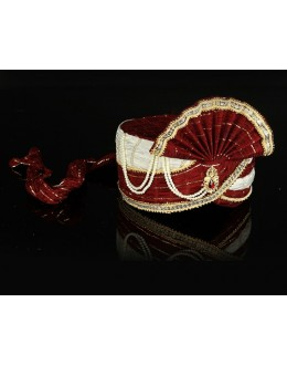 Wedding Wear Maroon Net Groom Turban - 74645