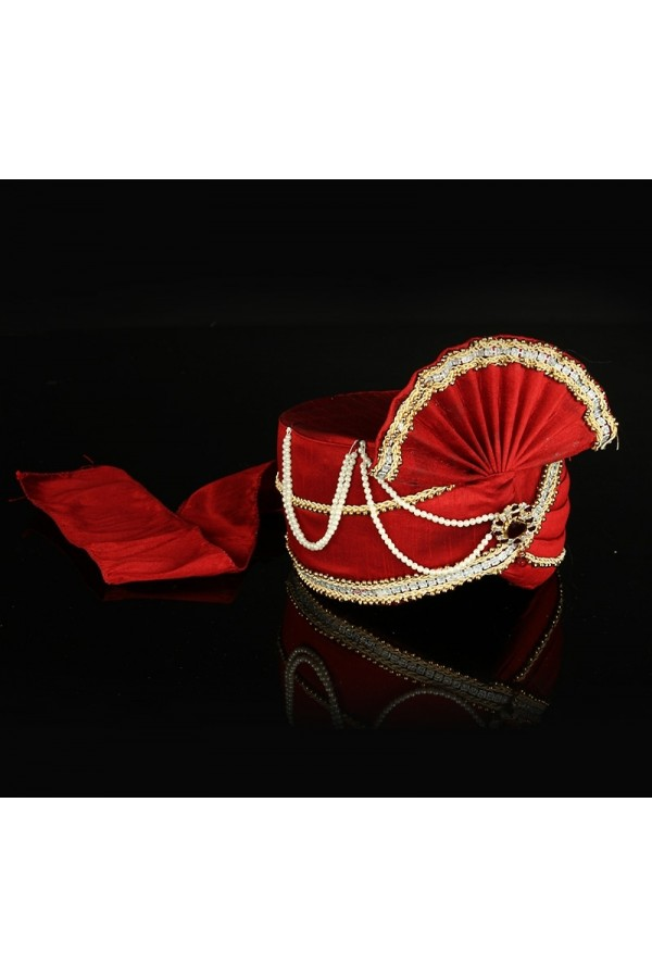 Wedding Wear Red Raw Silk Groom Turban - 74651