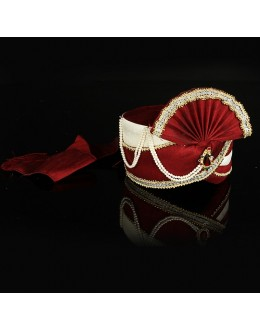 Wedding Wear Red Raw Silk Groom Turban - 74652