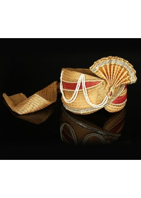 Ethnic Wear Beige Net Groom Turban - 74660
