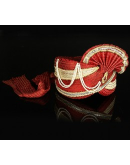Wedding Wear Red Net Groom Turban - 74662