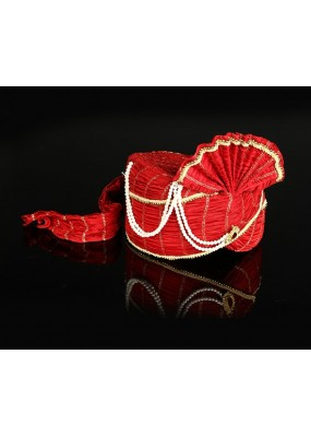 Traditional Red Net Groom Turban - 74666