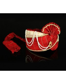 Ethnic Wear Red Net Groom Turban - 74668
