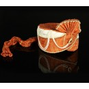 Wedding Wear Orange Net Groom Turban - 74669