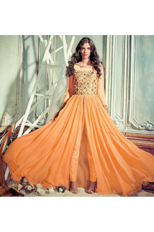 Festival Wear Orange Georgette Slit Salwar Suit  - 74723