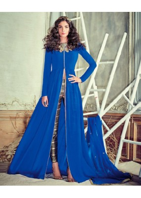 Ethnic Wear Blue Georgette Slit Salwar Suit  - 74724