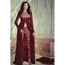 Party Wear Maroon Georgette Slit Salwar Suit  - 74725