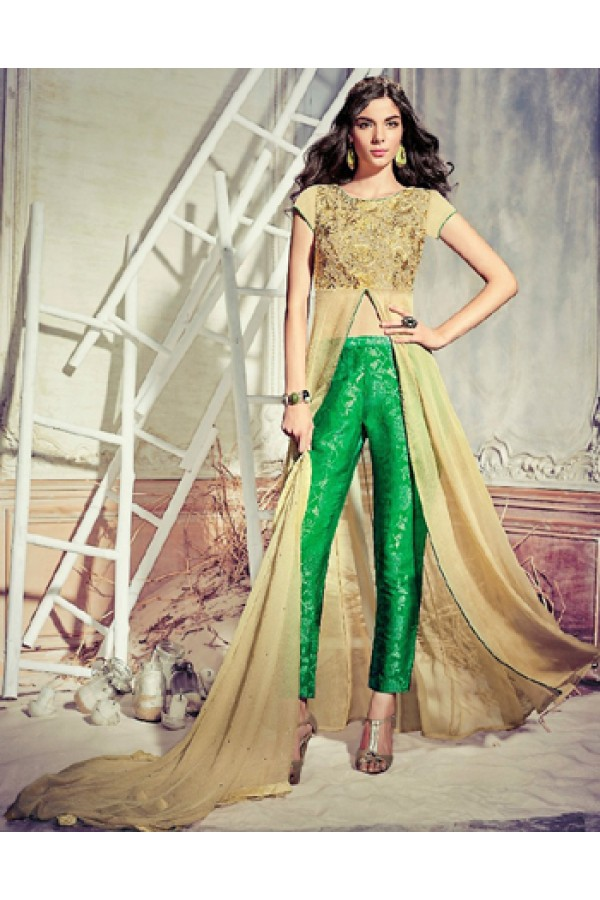 Festival Wear Brown & Green Chiffon Slit Salwar Suit  - 74727
