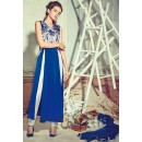 Office Wear Blue & White Crepe silk Slit Salwar Suit  - 74729