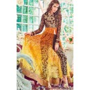Festival Wear Brown & Yellow Brasso Slit Salwar Suit  - 74733
