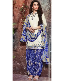 Office Wear Off White & Blue Cotton Patiyala Suit  - 74736