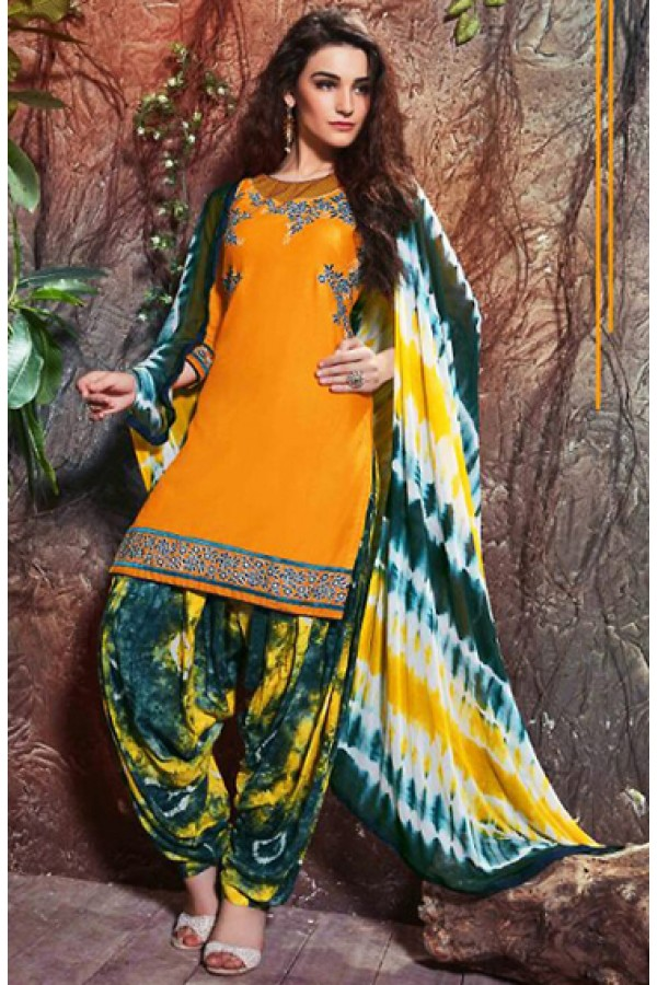 Ethnic Wear Yellow Cotton Embroidered Patiyala Suit  - 74743