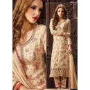 Ethnic Wear Beige Jacquard Embroidered Salwar Suit  - 74744