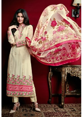 Office Wear Cream Georgette Salwar Suit - 74756