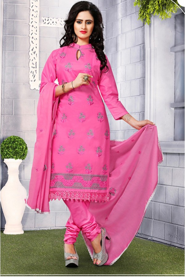 Festival Wear Pink Cotton Embroidered Salwar Suit  - 74817