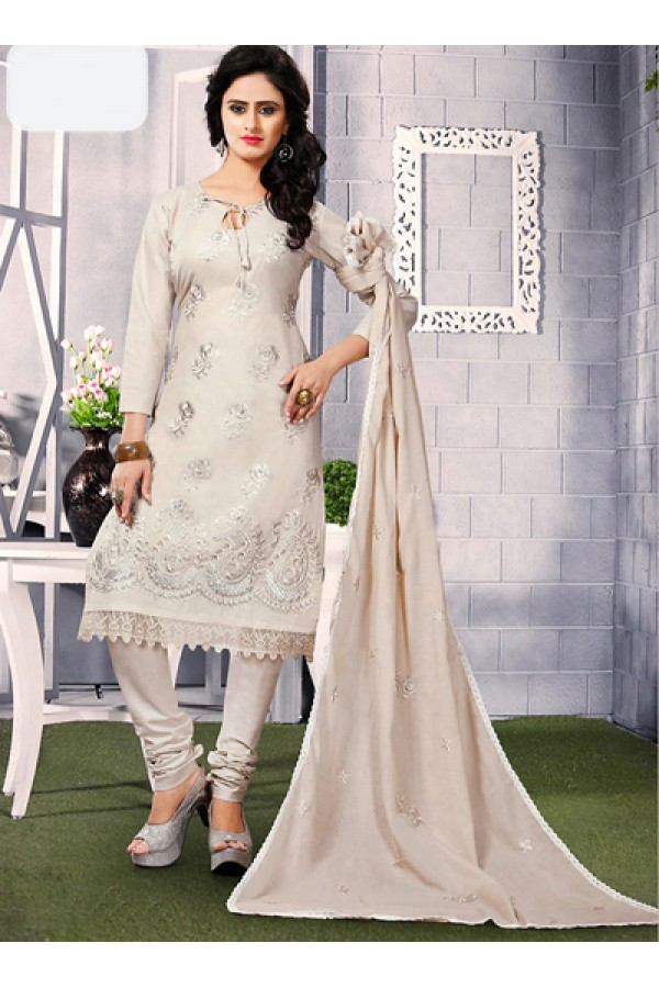 Ethnic Wear Grey Cotton Embroidered Salwar Suit  - 74820