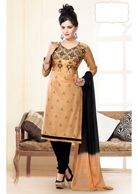 Party Wear Beige & Black Cotton Churidar Suit  - 74821