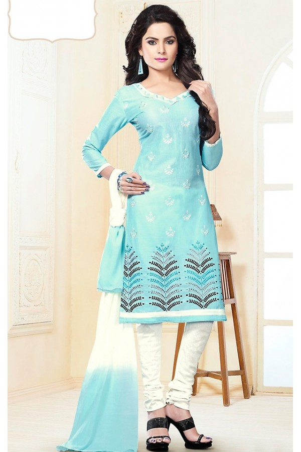 Office Wear Sky Blue & White Cotton Churidar Suit  - 74822
