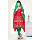 Ethnic Wear Red & Green Cotton Salwar Suit  - 74826