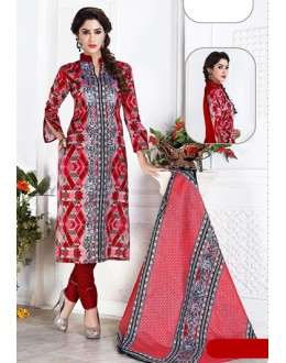 Ethnic Wear Red Cotton Churidar Suit  - 74829